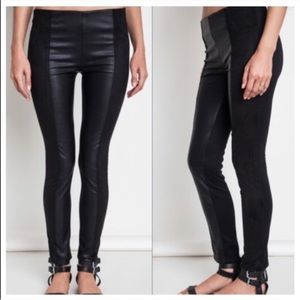 Pants - NEW Black Two-toned Vegan Leather Leggings